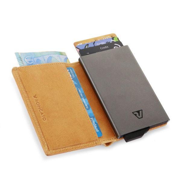 محفظة رجالية جلد عصرية من رونكاتو ، خردلي